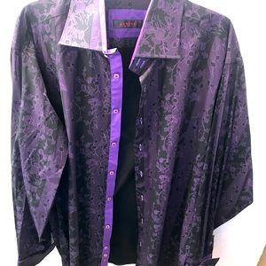 AXXESS Cotton Mens Dress Burgundy Floral Shirt 2XL